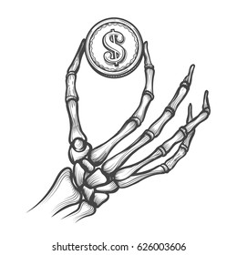 Skeleton hand with coin hand drawn vector illustration. Bones holding dollar