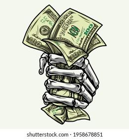 Skelett auf der Hand, zuerst mit Dollarscheinen auf weißem Hintergrund, einzelne Vektorgrafik
