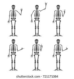 Skeleton hand gestures set:ok, finger up, finger down, fist, middle finger, Rock n roll horns, clapping palms and other emoji. Human skeleton posing isolated on white background vector illustration