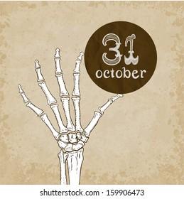 Skeleton hand with Halloween date. Vector illustration, eps10.