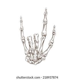 Skeleton hand heavy metal, vector illustration