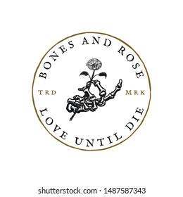 Skeleton hand hold a flower vintage tattoo emblem hand drawn logo