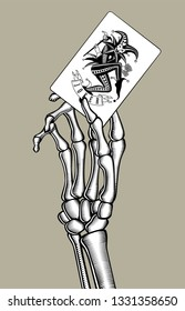 Skeleton hand holding Joker playing card. Casino game retro concept design. Vintage engraving stylized drawing. Vector illustration