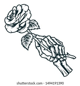 Skeleton hand holding rose flower in vintage monochrome style isolated vector illustration