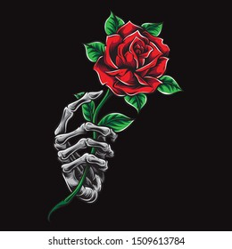 skeleton hand holding rose vector