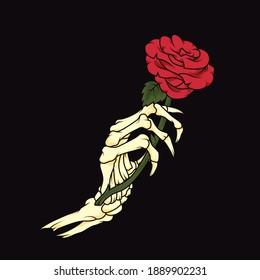 Skeleton hand holding rose. Vector illustration of skeleton hand holding red rose concept design