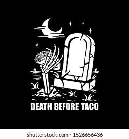 Skeleton hand holds taco. Design for printing on t-shirts, stickers and more. Vector.