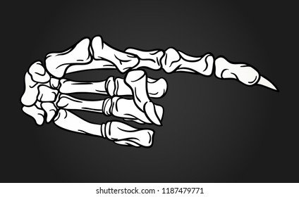 Skeleton hand with pointing finger. Hand drawn Halloween greeting card celebration design element. Holiday vector illustration in white and black.