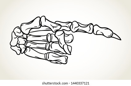Skeleton hand with pointing finger. Hand drawn Halloween greeting card celebration design element. Holiday vector illustration in black over white.
