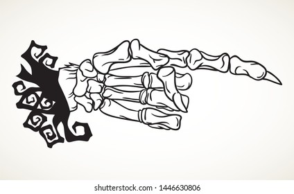 Skeleton hand with pointing finger. Hand drawn Halloween celebration design element symbol. Vector illustration in black isolated over white.