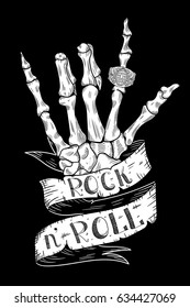 Skeleton Hand Rock N Roll Sign with typography on ribbon / T-shirt print / hand drawn illustration. Vector