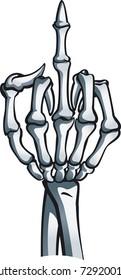 Skeleton hand shows middle finger