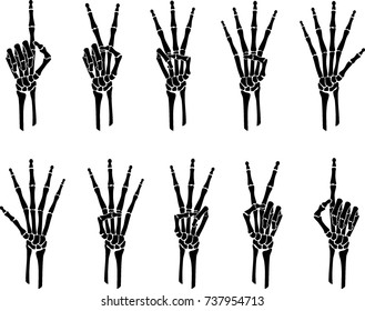 Skeleton Hands Counting Gestures