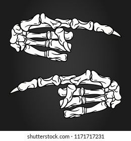 Skeleton hands with pointing finger. Hand drawn Halloween greeting card celebration design elements set. Holiday vector illustration in white and black.