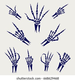 Skeleton hands signs on grey background, vector illustration