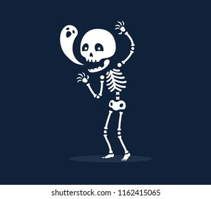 skeleton with happy soul. Isolated Vector Illustration