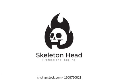 Skeleton Head On Fire Logo ,Skeleton Head Logo Design with Fire Logo Template, T-Shirt Template, Vector Eps File