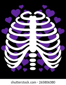 skeleton and hearts