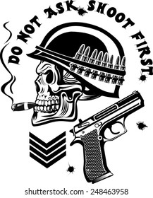 Skeleton in helmet with guns cartridges and pistols