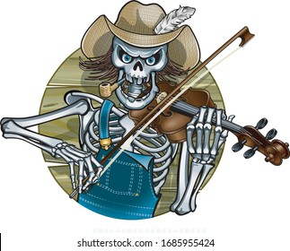 skeleton hillbilly playing the fiddle
