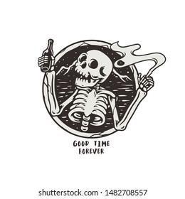 skeleton holding a bottle of beer and cigarettes. vector illustration