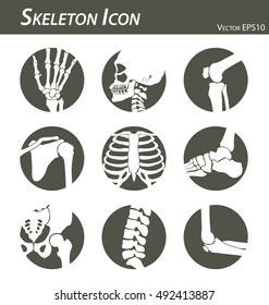 Skeleton icon (hand, finger , wrist , head , neck , thigh , knee , leg , shoulder , arm , forearm , thorax , ankle , foot , pelvis , hip , backbone ( vertebrae ) , elbow) black and white , flat design