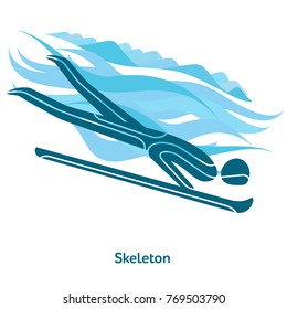 Skeleton icon. Olympic species of events in 2018. Winter sports games icons, vector pictograms for web, print and other projects. Vector illustration isolated on a white background