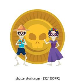 skeleton of katrina and mariachi with skull coin