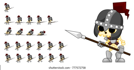 Skeleton knight game character for creating fantasy medieval video games