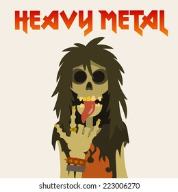 skeleton with long hair, sticking his tongue out and heavy metal symbol sign of the horns, cartoon flat style vector illustration.