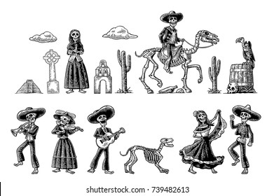 The skeleton in Mexican national costumes dance, praying, galloping on horse, play the guitar, violin, trumpet. Vintage vector black engraving illustration isolated white fond for Dia de los Muertos