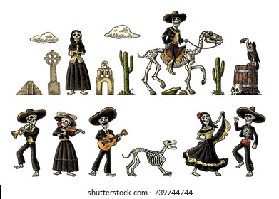 The skeleton in Mexican national costumes dance, praying, galloping on horse, play the guitar, violin, trumpet. Vintage vector color engraving illustration isolated white fond for Dia de los Muertos
