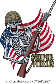skeleton with military helmet and rifle, in front of stars and stripes