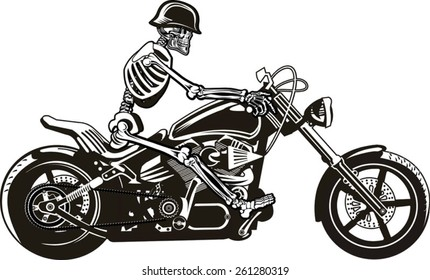 Skeleton on Motorbike