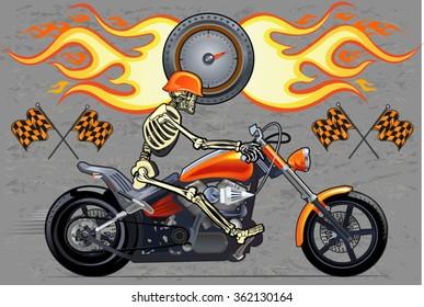 Skeleton on Motorbike. Speed Fire. Vector