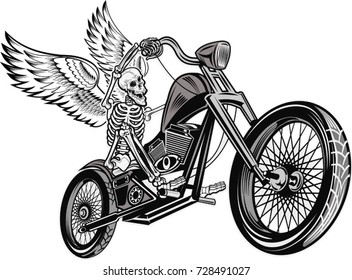 skeleton on motorcycle