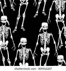 Skeleton in the pattern, seamless vector background.