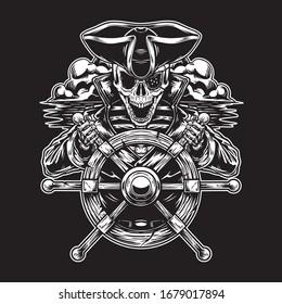 Skeleton pirate captain at sea
