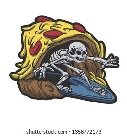Skeleton pizza surf cartoon - Vector illustration