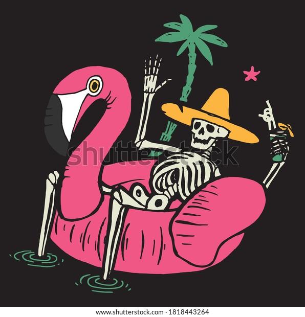 skeleton-pool-flamingo-having-drink-600w