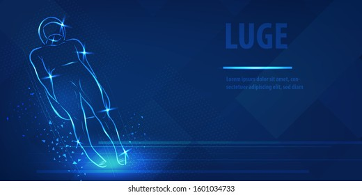 Skeleton racer on luge silhouette neon banner. Speed skating sport. Ice skiing race. Blue neon horizontal banner. Olympic winter games. Skeleton man fugure in blue neon winter sport vector background