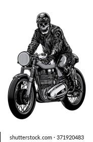 Skeleton riding a motorcycle wearing helmet.