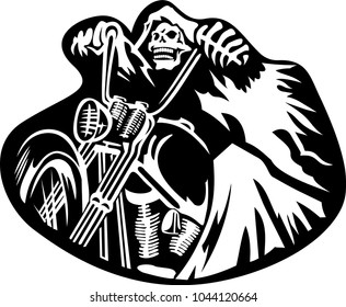Skeleton riding motorcyle outline vector cartoon