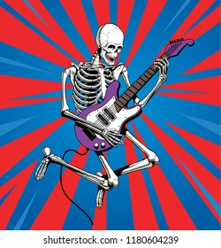 Skeleton rock guitar player jumps. Vector illustration.