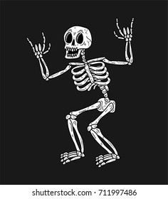 SKELETON WITH ROCK SIGN WHITE BLACK BACKGROUND