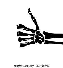 Skeleton shows like sign gesture thumb isolated, vector illustration