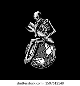 The skeleton is sitting on the globe with a bomb in his hands. T-shirt design. Vector.