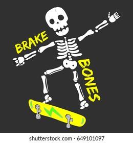 skeleton skater illustration, vector, typography