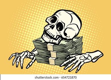 skeleton skull dollar money, wealth and greed. Pop art retro vector illustration