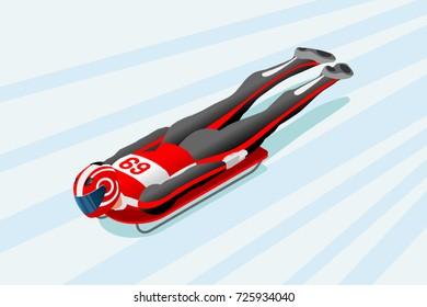 Skeleton sled race athlete winter sport man vector 3D isometric icon.